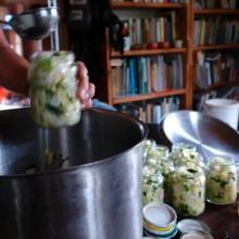 Bild vom Zucchini einlegen ins Einmachglas