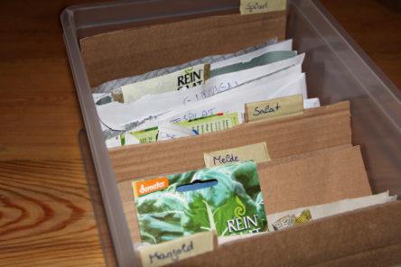 Foto des Inhalts einer Saatgutkiste