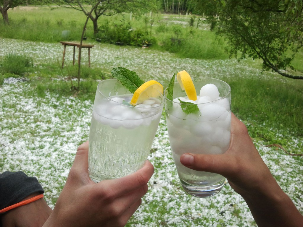 Foto von zwei Cocktails, die aus großen Hagelkörner hergestellt wurden