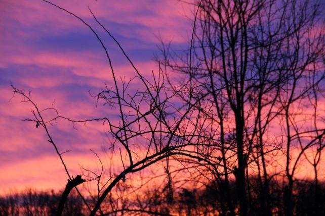 Foto eines Abendhimmels, der vom Abendrot gefärbt ist