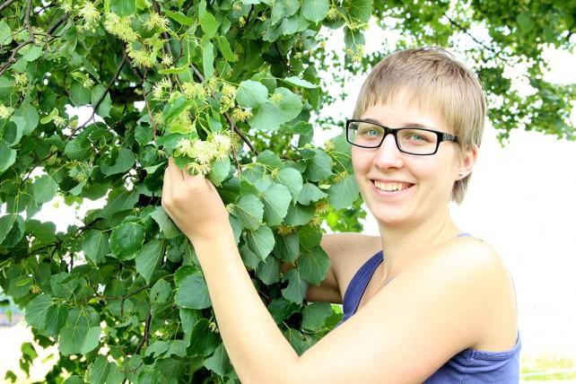 Monika bei der Ernte der Lindenblüten