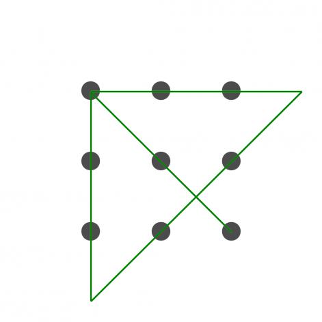 Die vier Linien werden weit über die Punkte hinausgezogen und reichen damit, alle neun Punkte zu verbinden.