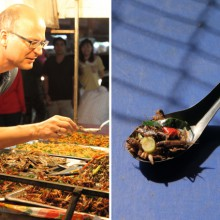 Foto des Filmemachers Valentin Thurn, wie dieser fritierte Insekten kostet.