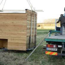 Foto von Holzwürfel der vom Kran abgeladen wird