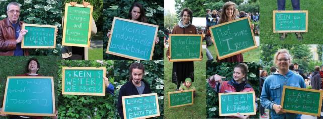 Teilnehmende an der Kampagne System Change, not Climate Change! halten Tafeln mit darauf geschriebenen Forderungen in die Kamera. Collage aus Einzelbildern.
