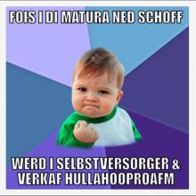 Meme mit dem im Dialekt geschriebenen Text: Falls ich die Matura nicht schaffe, werde ich Selbstversorger und verkaufe HulaHoop-Reifen.