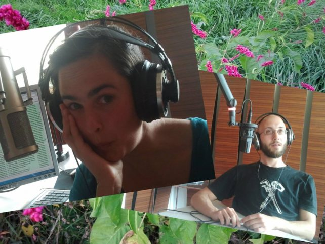 Foto von Lisa und Michael im Studio von FM4 und SWR fürs Interview.
