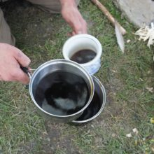 aufgebrühter Löwenzahnkaffee in einem Topf
