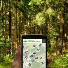 Ansicht der geplanten App der NaturPutzer vor einem Wald