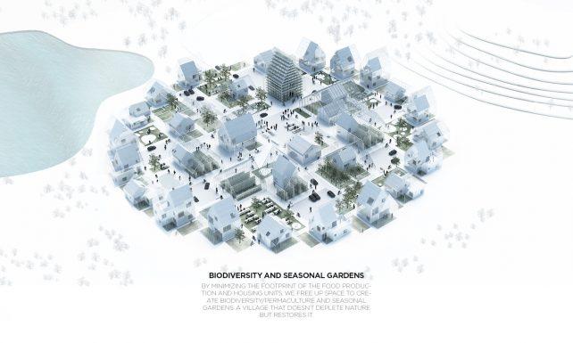 Bald keine Utopie mehr. Illustration der kreisförmigen Anordnung aller ReGen Villages Objekte.