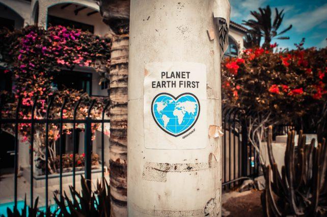 Foto einer Laterne mit einem aufgeklebten Plakat: Planet Earth first