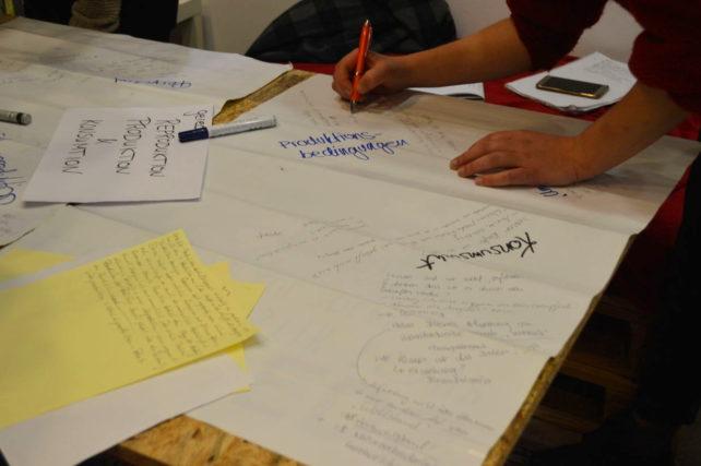"""Analoger Write-In des """"Klimaplan von unten"""" in Magdeburg-Brainstorming"""