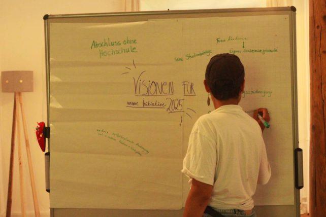 """Foto eines Boards mit Notizen zum Thema """"Visionen für unsere Initiative 2025"""""""