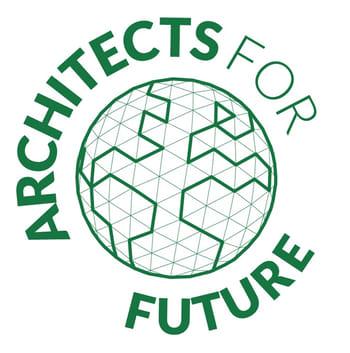 """Logo der Architects For Future - skizzierter Erdball in der Mitte - im Kreis darum herum steht """"Architects For Future"""""""